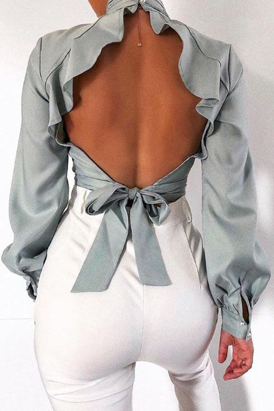 Lovely Sweet Backless Grey Blouse_Blouses&Shirts_Top_LovelyWholesale | Wholesale Shoes,Wholesale Clothing, Cheap Clothes,Cheap Shoes Online. - LovelyWholesale.com