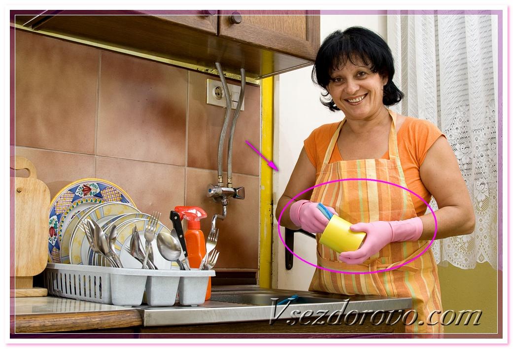используйте защитные перчатки при мытье рук!
