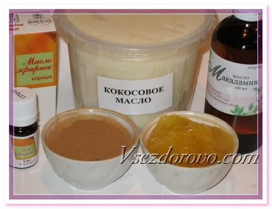 Для приготовления маск нам понадобятся мед, корица, масло кокоса, масло макадамии, эфирное масло корицы