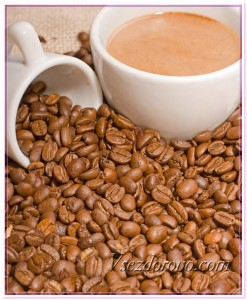 Чашка с кофе и зерна фото