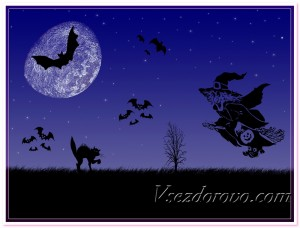 Ночное небо луна и ведьма