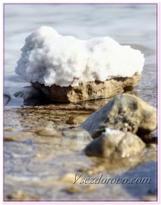 Мертвое море - камень, покрытый солью фото