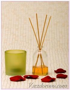 Ароматерапия при помощи аромасвечи и пористых арома-испаряющих палочек