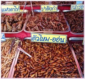 Жареные насекомые в пищу Тайланд