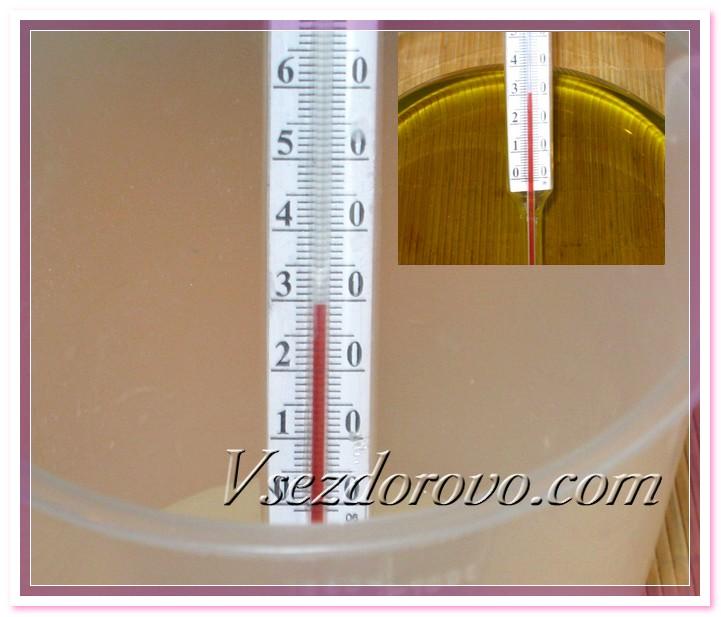 Проверяем температуру щелочного раствора и масел – они должны быть примерно одинаковыми