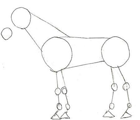 Рисуем лошадь поэтапно: вспомогательные контуры