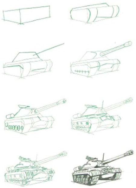 Как нарисовать танк карандашом. ИС-3