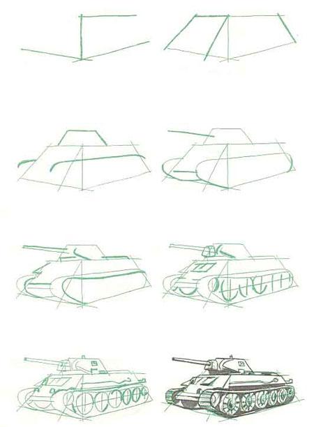 Как нарисовать танк карандашом. Т-34