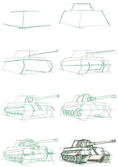 Как нарисовать танк карандашом. Тигр-2