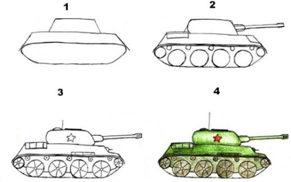 Как нарисовать танк, поэтапная конструкция
