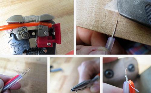 Зачистите провода в специальном инструменте