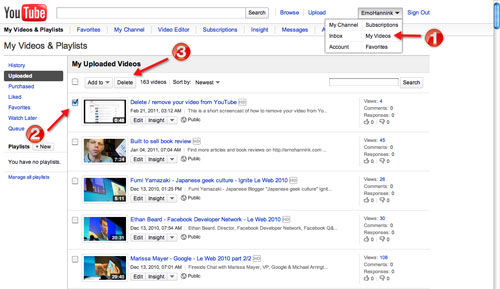 How to remove a video from Youtube