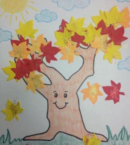 Осенние поделки: как сделать дерево из листьев