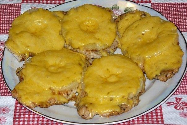 мясо с ананасами с сыром в духовке рецепт с фото