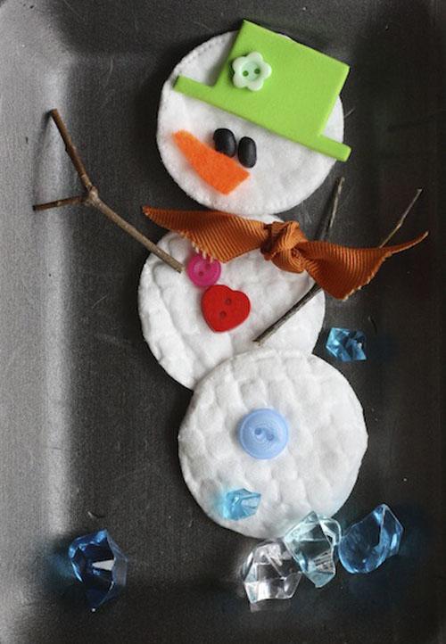 Новогодние поделки в детском саду: картинка-аппликация из ватных дисков