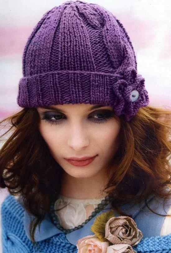 модные шапки вязаные спицами женские и мужские на осень зиму 2016