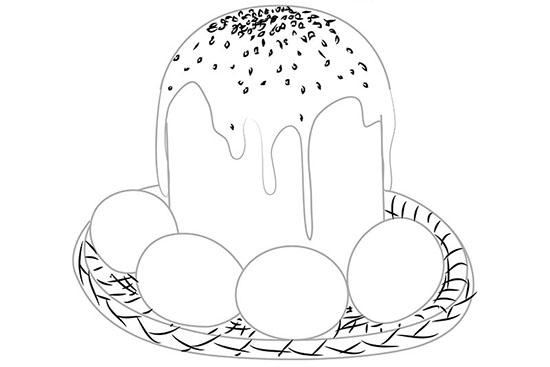 Как нарисовать яйцо и кулич на Пасху поэтапно карандашом