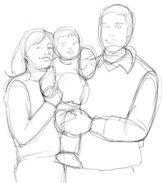 картинки семья карандашом поэтапно хочется показать