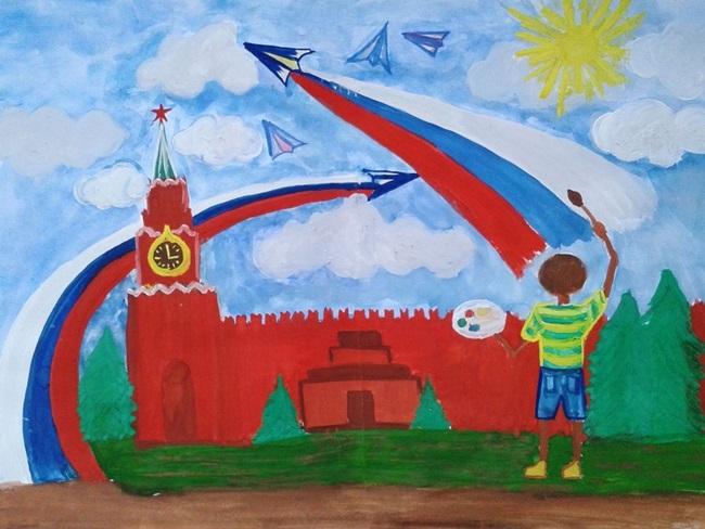 День россии рисунок карандашом