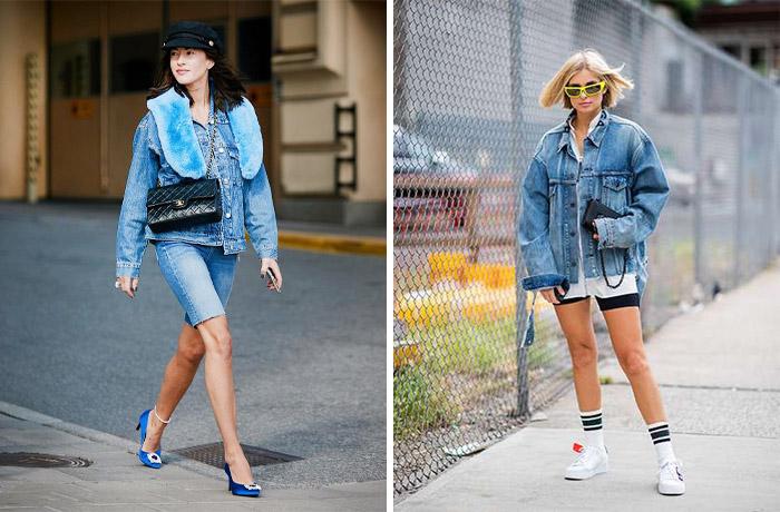 Велоипедки с джинсовой курткой