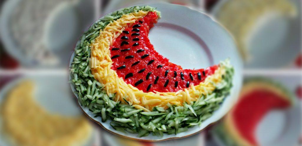 Фото салатов белый рояль арбузная долька гриб
