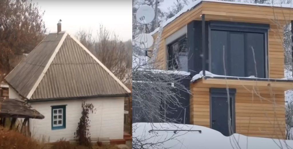 Мастер построил красивый дом заместо старой избы
